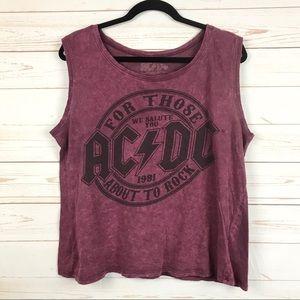 AC/DC Rock Band Graphic Acid Wash Tank Top Sz L